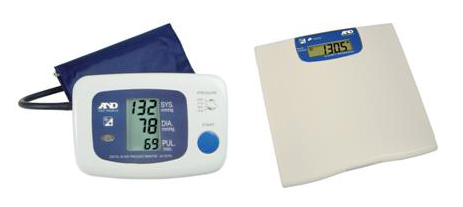 Cardio-Diabetological Module. UC-767PC blond pressure meter and UC-321P body weight scale (AND Medical, Japan) equipped with RS-232 serial communication port.